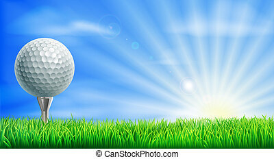 Golf course ball and tee - A golf ball on its tee in a green...