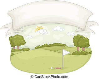 Golf Course Banner - Illustration of a Golf Course Under a...