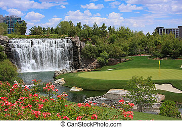 Beautiful golf course and waterfall
