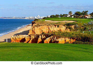 Golf course by the sea - Algarve golf coastal scenario,...