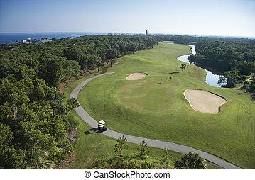 golf, course., côtier