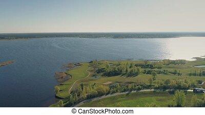 Golf course drone flight 4k, lake, bridge landscape, summer, above, lifestyle, beautiful