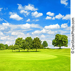 golf, course., fairway., grønnes felt, og blå, himmel