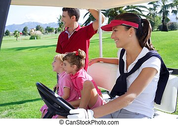 golf course family father mother daughters buggy - golf...