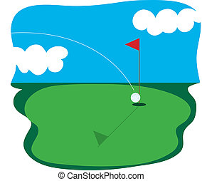 Golf Course - Golf ball going into a hole in one