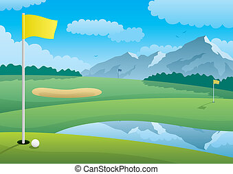 Golf course landscape. No transparency used. Basic (linear) gradients. A4 proportions.