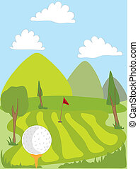 hand drawn illustration of a golf ball on a tee overlooking the green