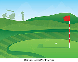 Golf Course Hole - Golf Course Layout with Red Flag and Ball...