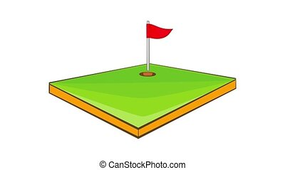 Golf course icon animation cartoon best object isolated on white background