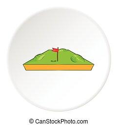Golf course icon, cartoon style