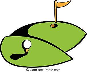 Golf course icon, icon cartoon