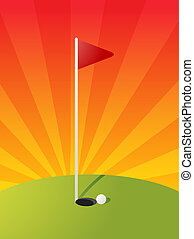 Golf course illustration - Golf illustration with hole flag ...