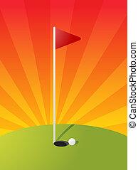 Golf course illustration - Golf illustration with hole flag...