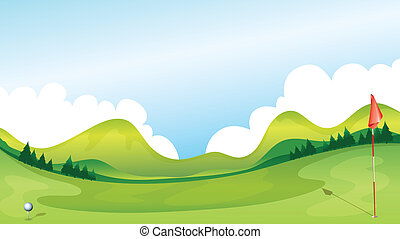 Golf course - Illustration of a golf course with the...