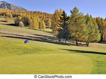golf-course in alpine mountain