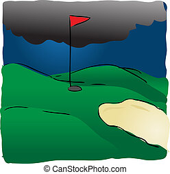 Golf course in bad weather with dark storm rain clouds, illustration