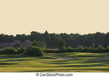 golf course in evening light