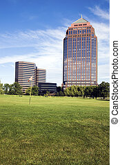 Golf Course in front of skyscrapers - Itasca, Illinois.
