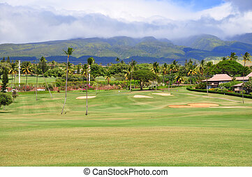 Golf course in Kaanapali Maui, Hawa - A portion of the...