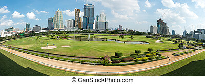 Golf course in the city of Bangkok taken in panoramic technic