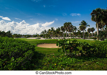 Golf Course in Tropical Paradise. Summertime holiday at Dominican Republic