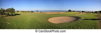 Golf Course - Landscape of a golf course on the coastline.
