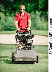 Golf course maintenance equipment, greens mower