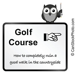 Golf Course - Monochrome comical golf course sign isolated ...