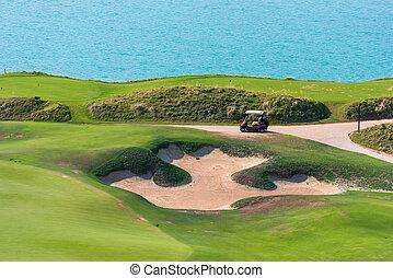 Golf course on a sea coast