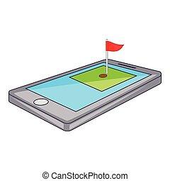 Golf course on phone icon, cartoon style