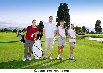 Golf course people group young players team