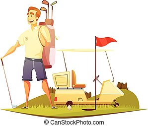 Golf Course Player Retro Cartoon Icon