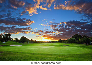 Golf course sunset - Sunset over the golf course