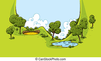 A lush, green valley on a golf course with a sand trap and water hazard.