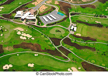 High angle view of the golf course