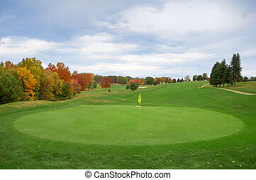 wide view of golf course in autumn