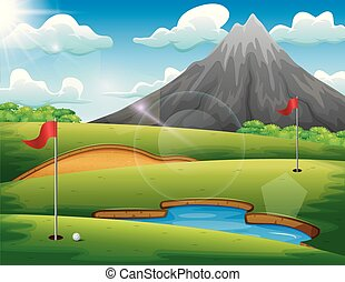 Golf course with beautiful landscape