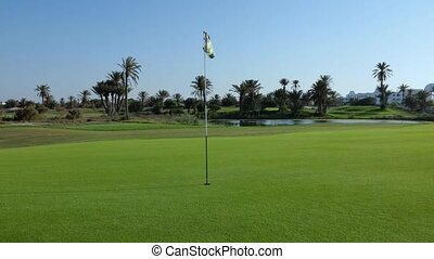 Golf course with flag in the middle