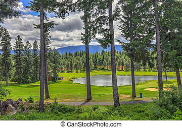 Golf course with pine trees and pond in cascade mountains of...