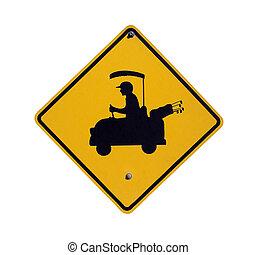 Golf Crossing - Golf cart crossing sign in a affluent desert...