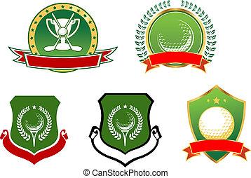golf, deporte, iconos, emblemas, y, señales