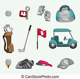 golf, dessin animé, icône