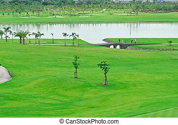 golf, dziedziniec, krajobraz