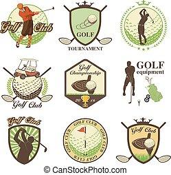 golf, emblèmes, étiquettes, insignes