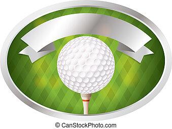 Golf Emblem - An illustration of a golf ball on tee emblem....