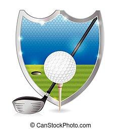 Golf Emblem Illustration - An illustration of a golf ball on...