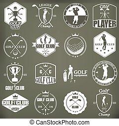 golf, emblemas, etiquetas, insignias