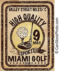 Golf. Emblems for golf with two crossed golf clubs, ball. Retro label design. Postcard
