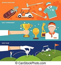 golf, ensemble, bannière