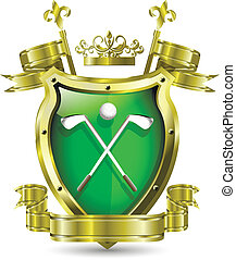 golf - illustration of an abstract metallic shield with golf...